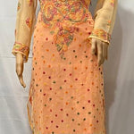 Peach Georgette Chikan Embroidered Kurti Salwar Kameez Pattern