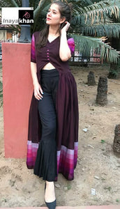 Wine Chiffon Front Slit Latest Designs Of Kurti Pant Suits Online