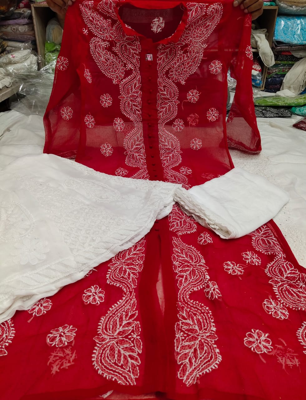Red Georgette Chikan Work Front Open Anarkali Suit Design Online