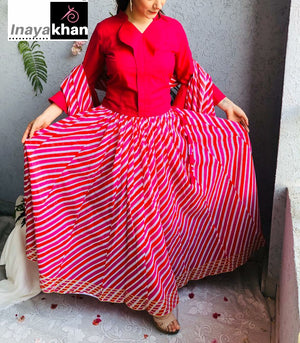 Indo Western Cotton Crop Top  with Cotton Leheriya Skirt