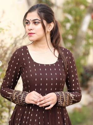 Brown With Golden Print Long Gown Latest Kurti Designs