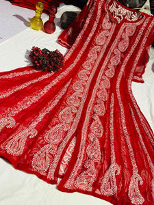 Red Chiffon Lucknawi Chikankari Indian Kurta Designs