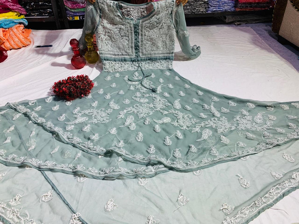 Light Grey Embroidered Chikan Dual Layer Gown Style Kurtis Online