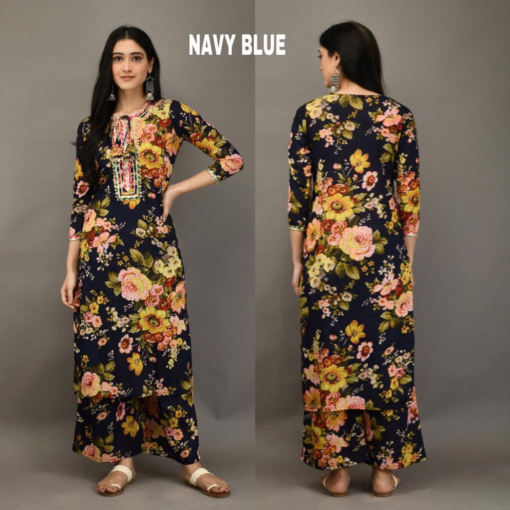 Navy Blue Cotton Floral Print Beautiful Kurta Palazzo Suits Online