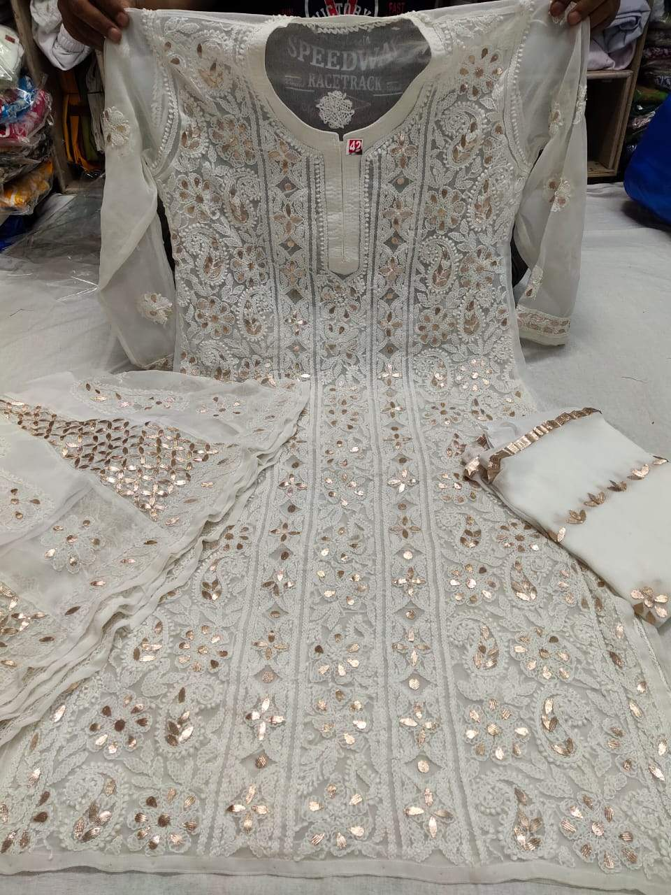 Blue Green Georgette Chikan Gota Embroidered Kurta Suits Online