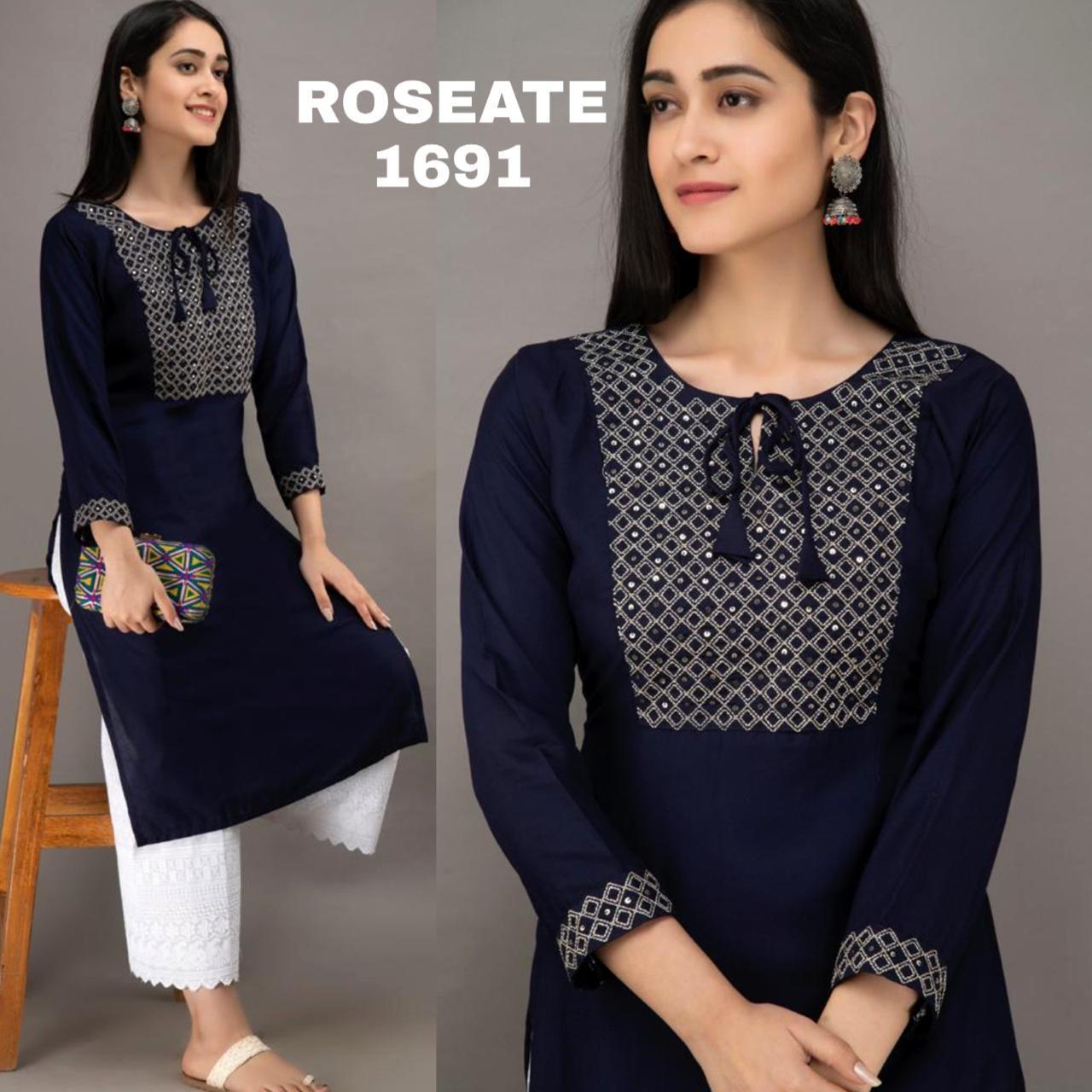 Rutba Khan Navy Blue Rayon Kurti Palazzo Latest Suits Design India Online