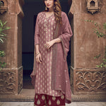Dusty Pink Art Silk Embroidered Palazzo Salwar Kameez Suits