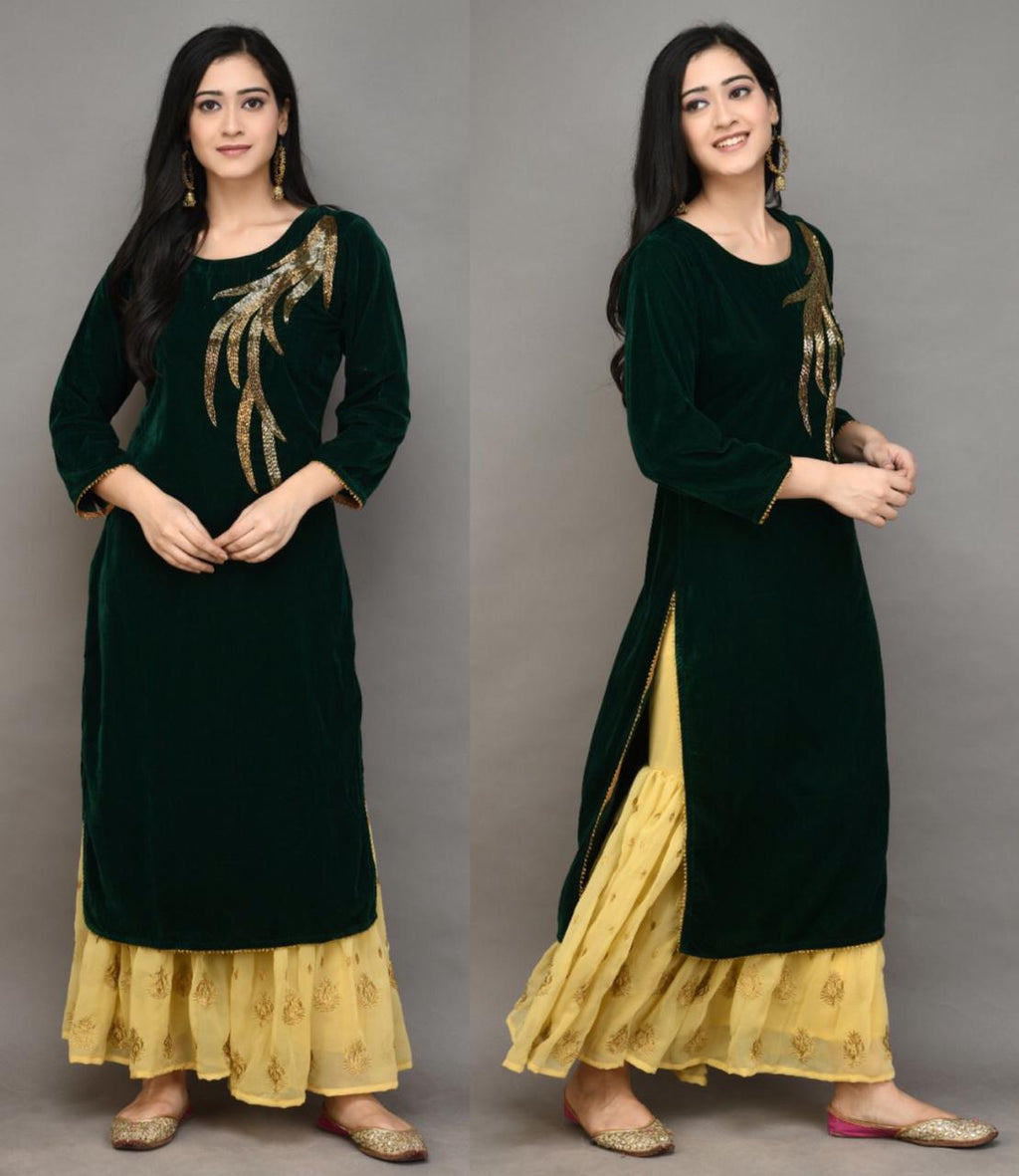 Dark Green Velvet Embroidered New Kurti Sharara Dress Online