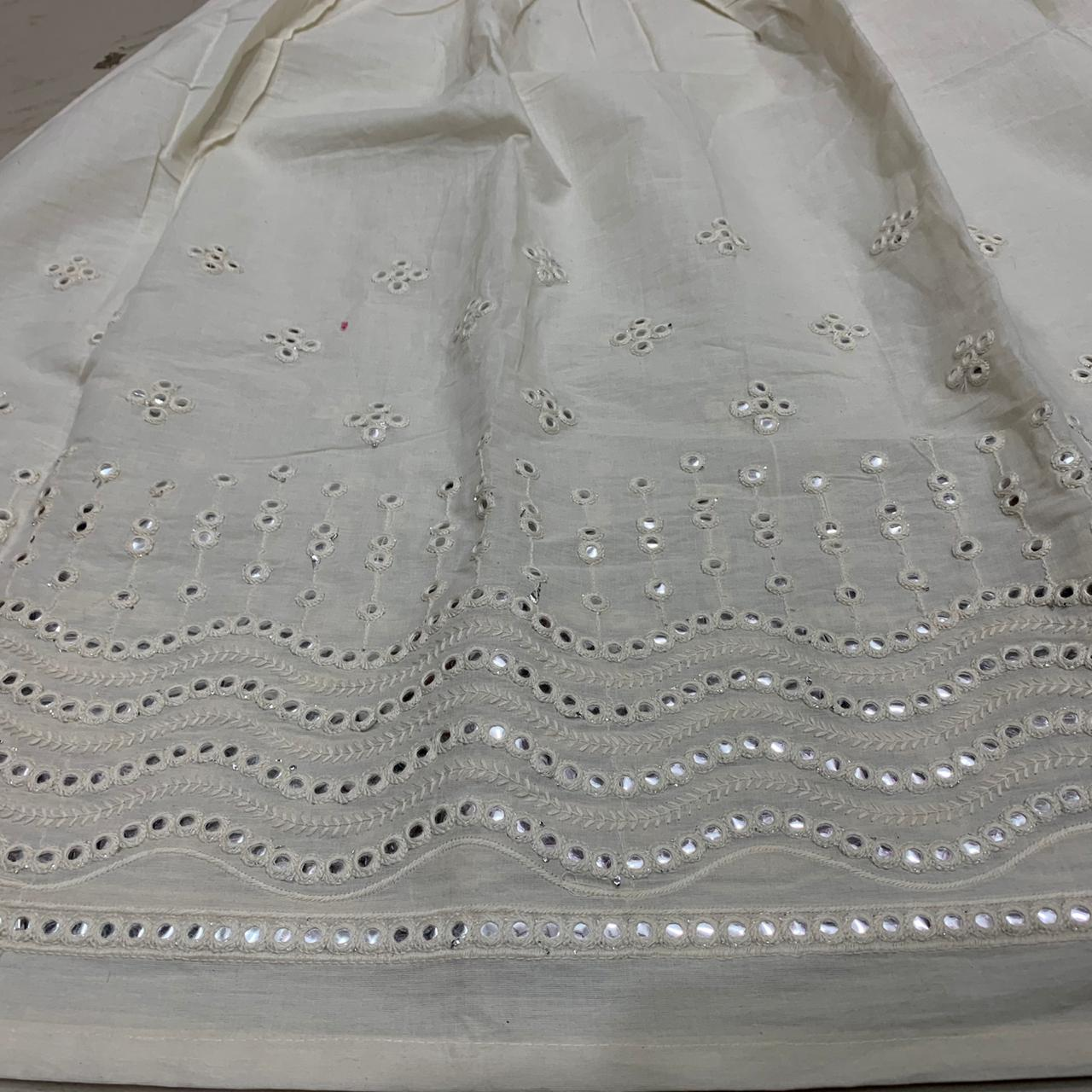 Elegant White Phulkari beautiful mirror work Anarkali and mirror work bottom