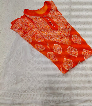 Orange Georgette Embroidered Chikan Buttas Kurtis Sharara Suits Online