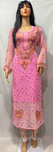 Pink Georgette Chikan Embroidered Kurti Sets Indian Suits Online