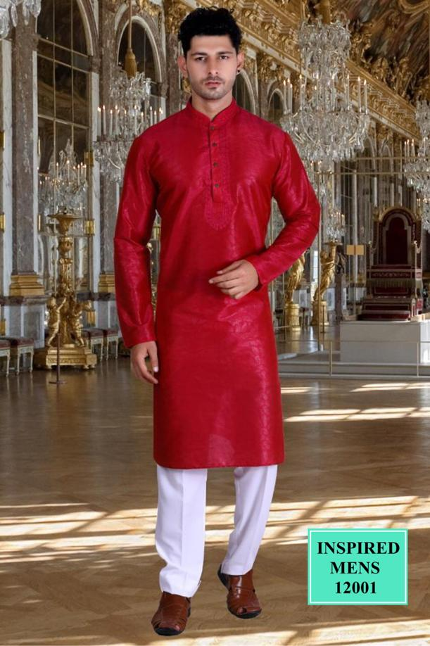 Red Jacquard Straight Cut Traditional Men's Kurta Set