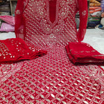 Red Lucknawi Chikankari Gotapati Latest Kurti Sharara With Dupatta