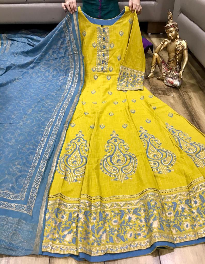 Yellow 2 Pcs Set Cotton Flex Festive Wear Anarkali Style Kurtis Online
