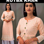 Rutba Khan Peach Chikankari New Designs Kurti Palazzo Online Buy