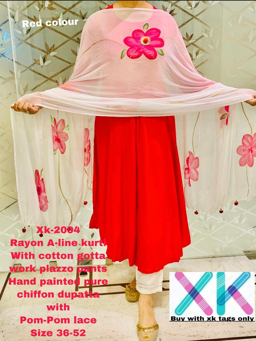 Red Rayon A-Line Anarkali Palazzo Indian Suits Online