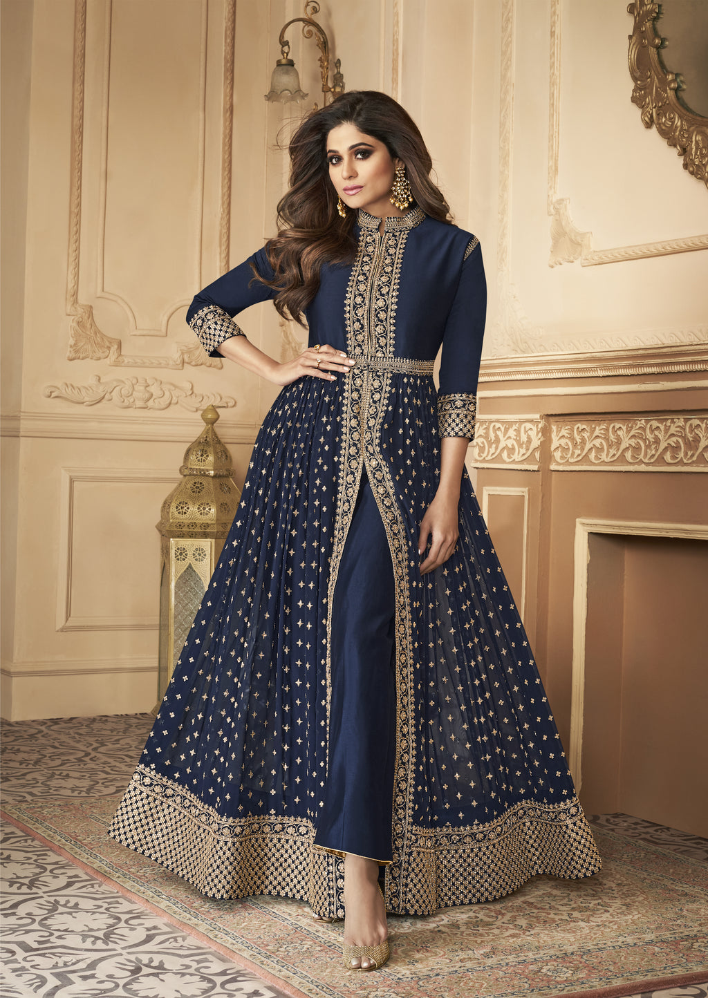 Navy Blue Embroidered Front Slit Salwar Kameez Suit Online
