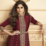 Maroon Embroidered Georgette Front Slit Abaya Suits Online