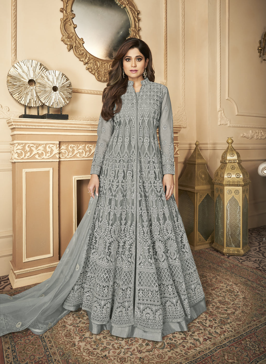 Grey Net Embroidered Party Wear Lehenga Choli