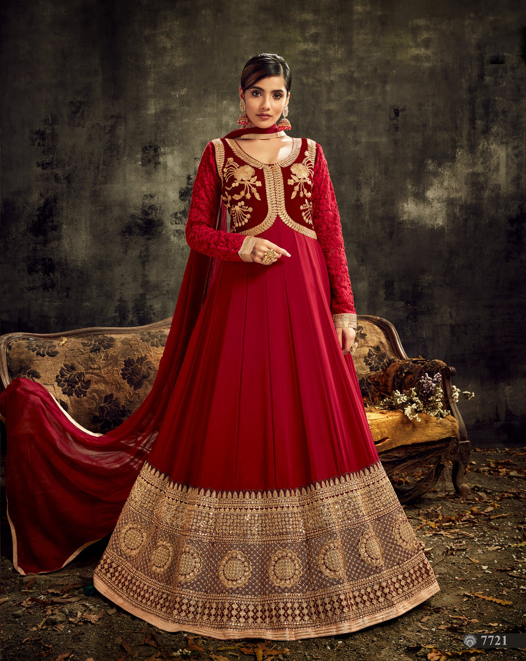 Red Georgette Embroidered Abaya Style Salwar Dresses Online