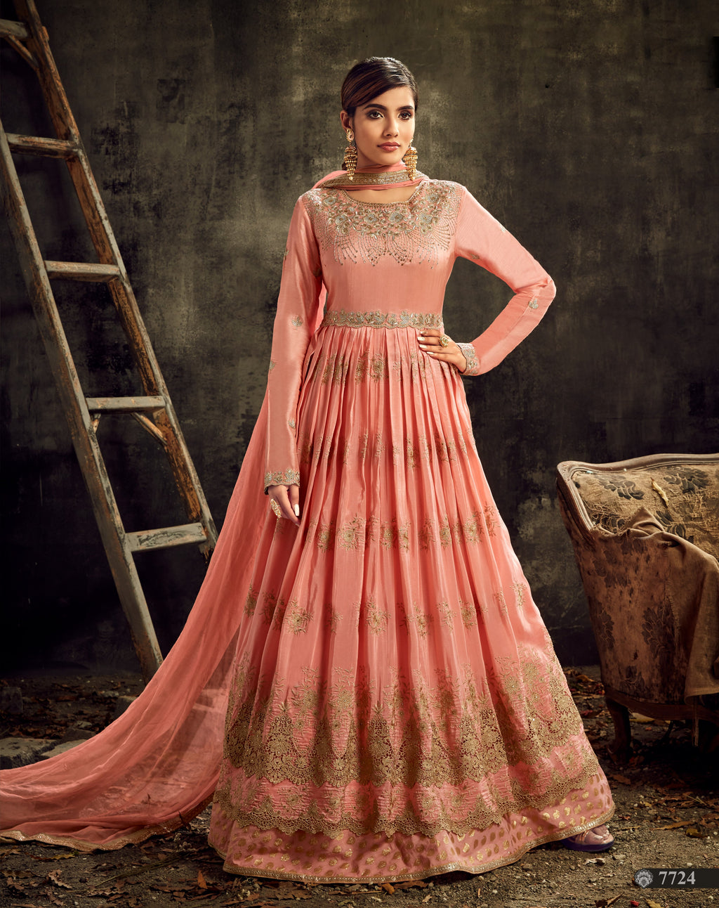 Peach Uppada Silk Embroidered Abaya Style Salwar Suits Online