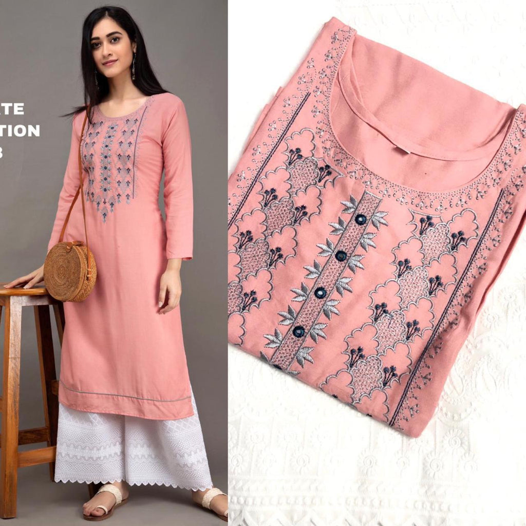 Peach Puff Rayon Embroidered Kurti Palazzo Suit India Online