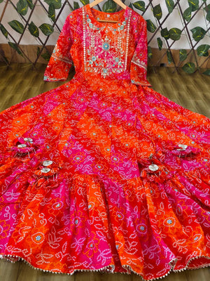 One Piece Orange Cotton Embroidery and Mirror Work Kurti  Dresses