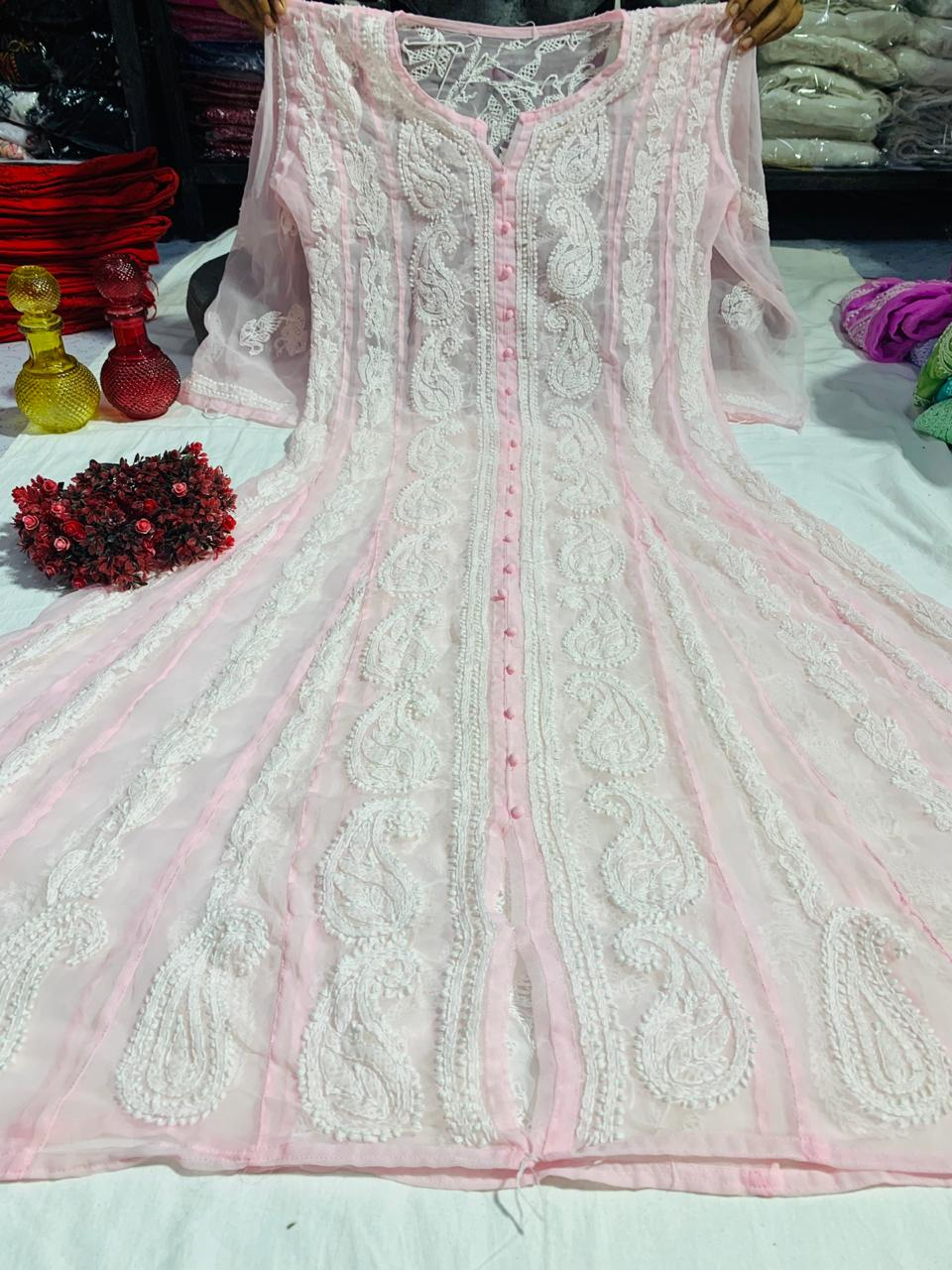 Light Pink Chiffon Lucknawi Chikankari Anarkali Dress Suits Online