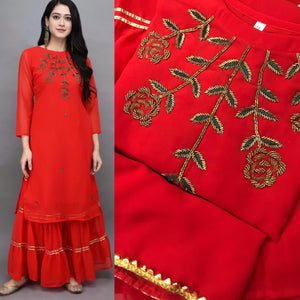 Red Georgette Embroidered Kurti Palazzo Salwar Kameez In India