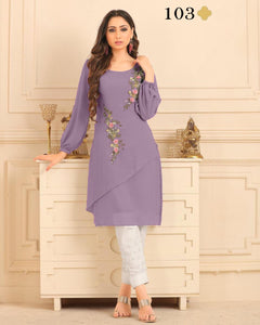 Dusty Purple Georgette Embroidered Latest Kurtis Pant Style Online