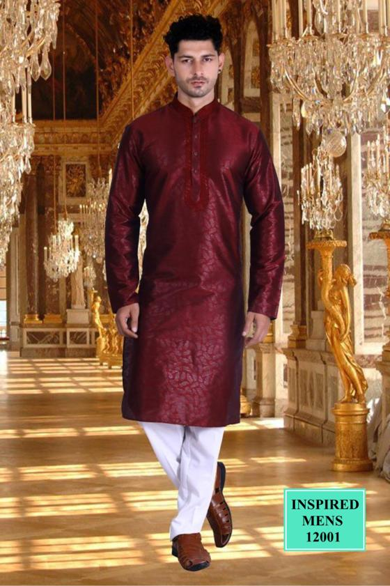 Maroon Jacquard Straight Cut  Men's Kurta Set India Online