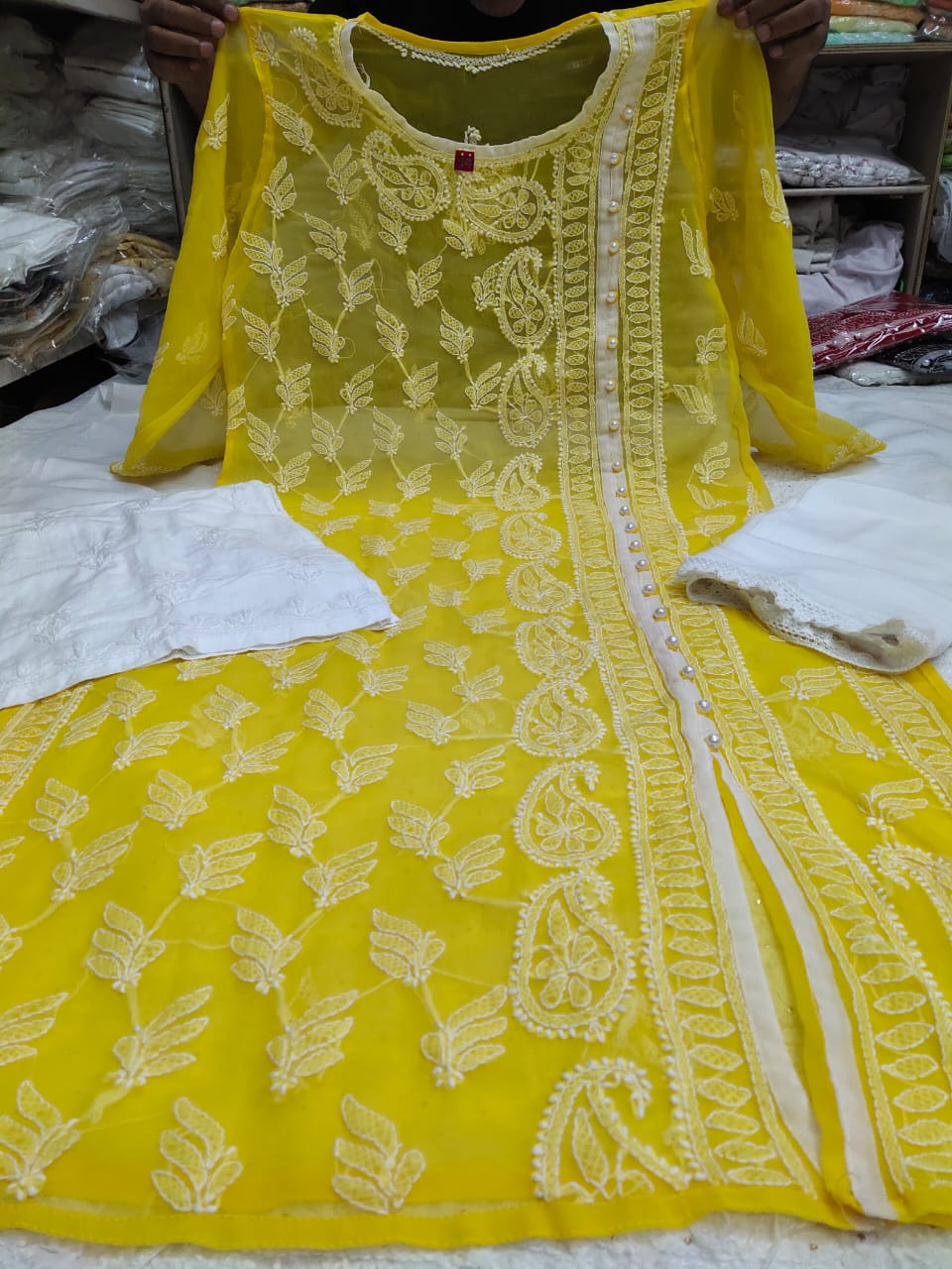 Yellow Embroidered Chikan Angrakha Salwar Kurta Online Shopping