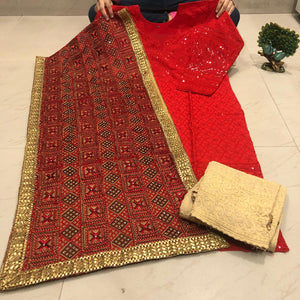 Red Cotton Chikankari Kurti Palazzo Suits With Stole Dupatta