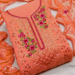 Peach Embroidered Georgette Latest Salwar Kameez Suits Online