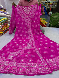 Fuchsia Georgette Angrakha Women Kurtis Online Shop India