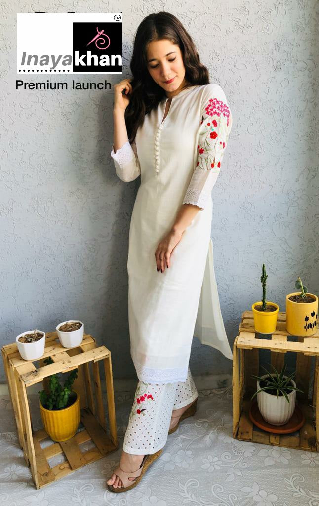 Inaya Khan White Cotton Embroidered Kurti Palazzo Suit Online Shopping