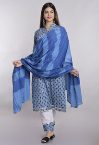Blue Cotton Block Print Kurti Suits Indian Dresses Online