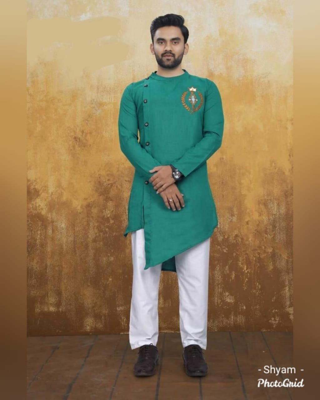 Teal Green Cotton Side Button-Down Asymmetrical  Kurtas For Men