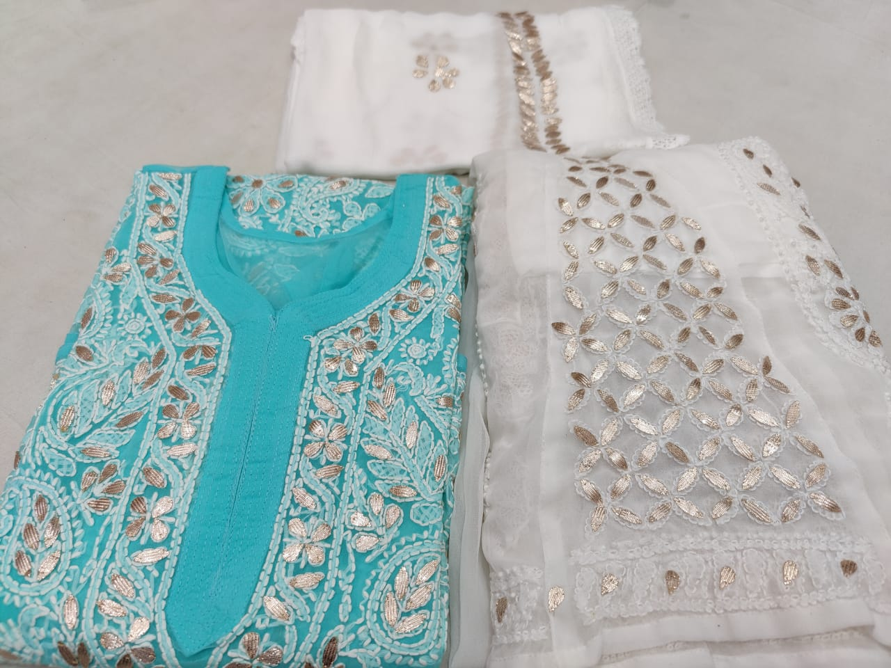Light Blue Georgette Lucknowi Chikankari Kurti Sharara Dresses Online