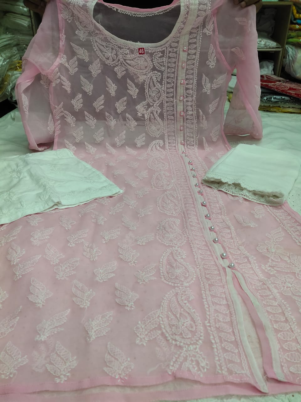 Light Pink  Embroidered Kurtis Angrakha Salwar Kameez Pattern