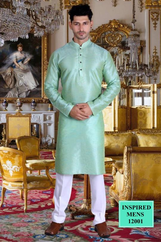 Light Sea Green Jacquard Straight Cut Indian Men's Kurta Online