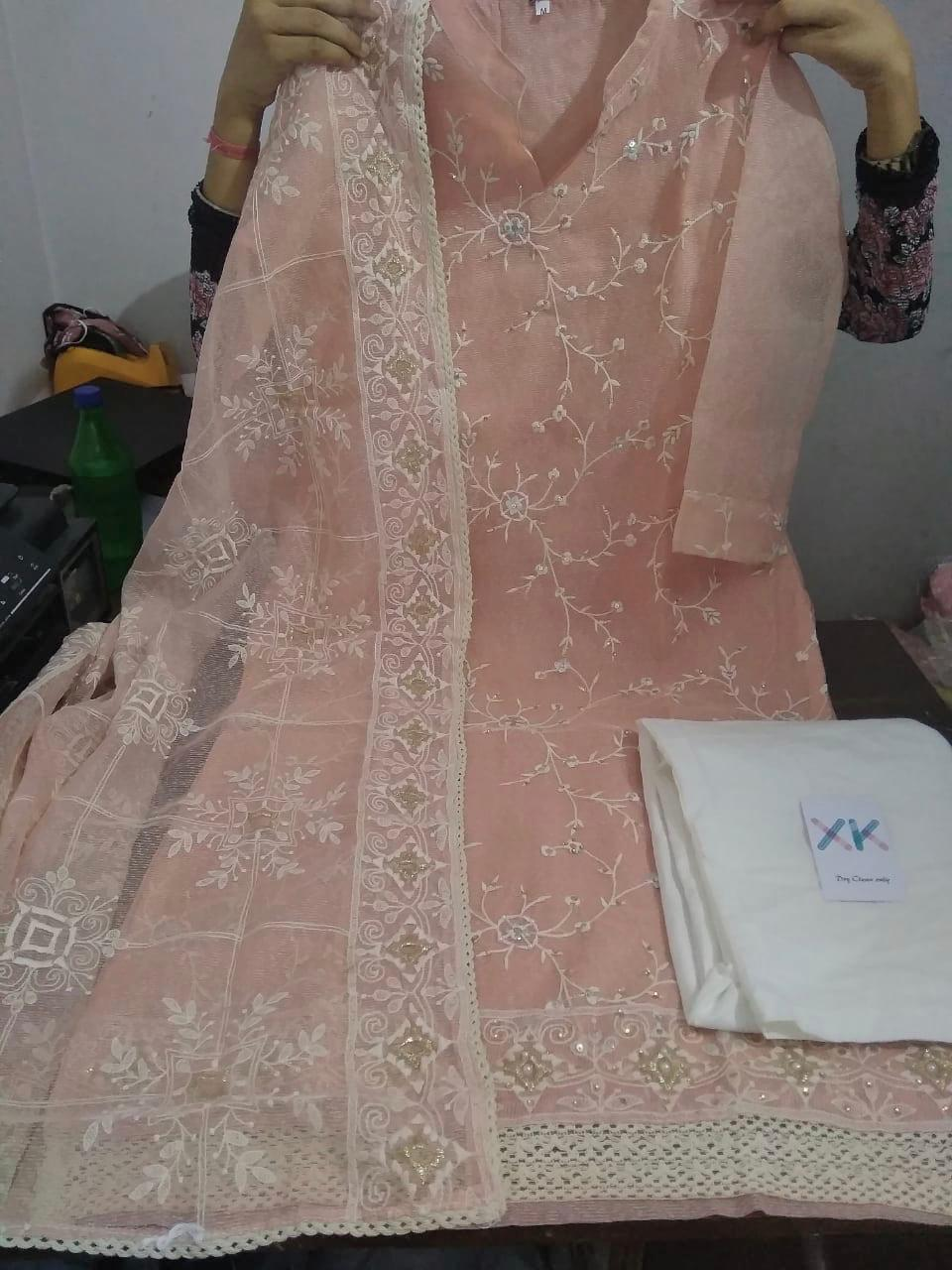 Light Peach Embroidered Latest Organza Kurti Palazzo Suit India Online