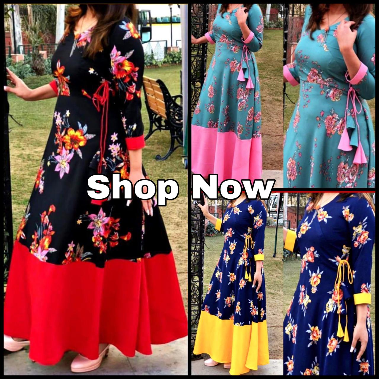 Navy Blue Angrakha Style  Indian Floral Print Gown Online
