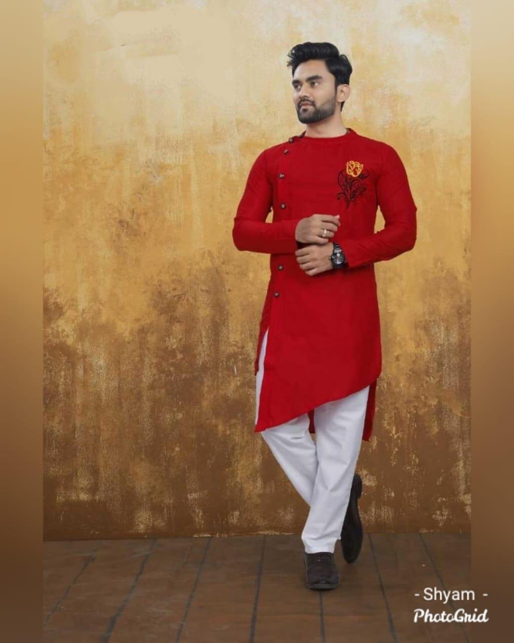 Red Cotton Side Button-Down Asymmetrical Men's Kurta Suit