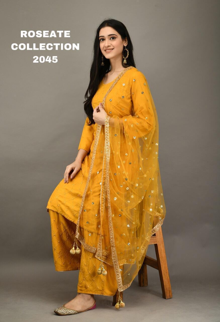 Yellow 3 Pc Kurti Pallazo with Embroidery work and Sequins work Dupatta