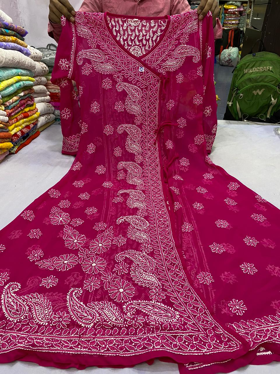 Magenta Georgette Angrakha Style Kurtis Online Shopping