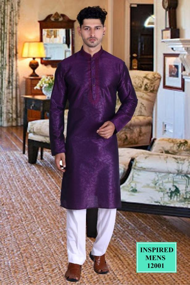 Purple Jacquard Straight Cut  Men's Kurta Set Online Shopping