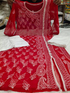 Red Embroidered Angrakha Style Kurtis Salwar Suit Online Shopping