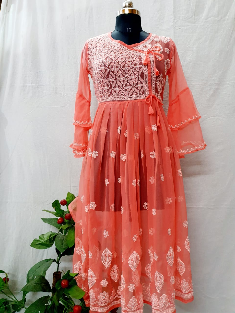 Peach fancy Georgette gown