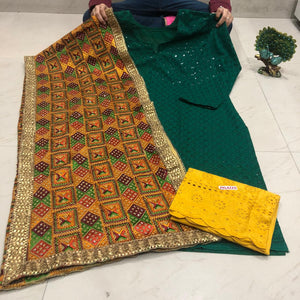 Dark Green Cotton Chikan Kurti Palazzo Suit With Stole Dupatta